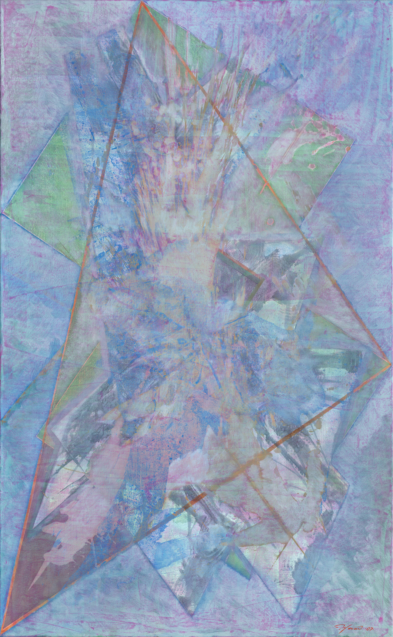 Triangulation Series #25-- oil on linen, 60 x 37 inches, 2009