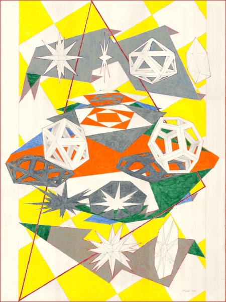 Platonic Triangulation, bodycolor on paper, 22 x 30 inches, 2008